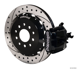 Wilwood Combination Parking Brake Caliper Rear Brake Kit - Black Powder Coat Caliper - SRP Drilled & Slotted Rotor