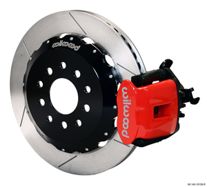 Wilwood Combination Parking Brake Caliper Rear Brake Kit - Red Powder Coat Caliper - GT Slotted Rotor