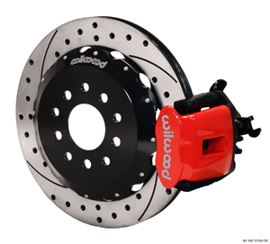 Wilwood Combination Parking Brake Caliper Rear Brake Kit - Red Powder Coat Caliper - SRP Drilled & Slotted Rotor