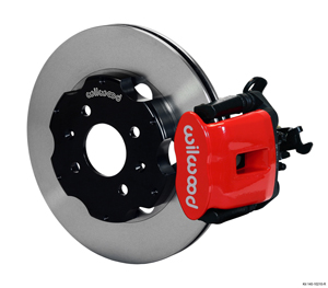 Wilwood Combination Parking Brake Caliper Rear Brake Kit - Red Powder Coat Caliper - Plain Face Rotor
