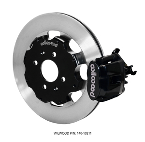 Wilwood Combination Parking Brake Caliper Rear Brake Kit - Black Powder Coat Caliper - Plain Face Rotor
