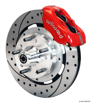 Wilwood Forged Dynalite Big Brake Front Brake Kit (Hub) - Red Powder Coat Caliper - SRP Drilled & Slotted Rotor