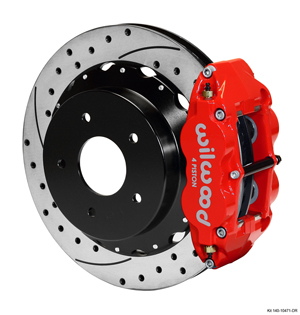 Wilwood Forged Narrow Superlite 4R Big Brake Rear Brake Kit For OE Parking Brake - Red Powder Coat Caliper - SRP Drilled & Slotted Rotor