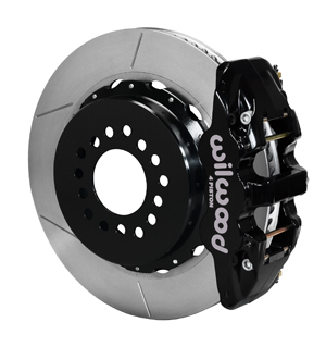 Wilwood AERO4 Big Brake Rear Parking Brake Kit - Black Powder Coat Caliper - GT Slotted Rotor