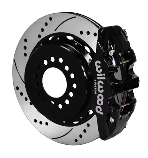 Wilwood AERO4 Big Brake Rear Parking Brake Kit - Black Powder Coat Caliper - SRP Drilled & Slotted Rotor
