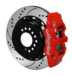 Wilwood AERO4 Big Brake Rear Parking Brake Kit - Red Powder Coat Caliper - SRP Drilled & Slotted Rotor
