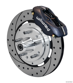 Wilwood Forged Dynalite Big Brake Front Brake Kit (Hub) - Black Anodize Caliper - SRP Drilled & Slotted Rotor