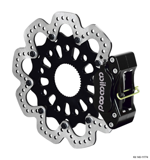 Wilwood GP320 Sprint Right Rear Brake Kit - Black Anodize Caliper - Drilled Rotor