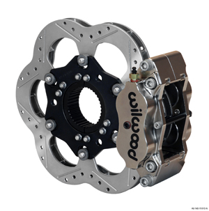 Wilwood Billet Narrow Dynalite Radial Mount Midget Inboard Brake Kit - Nickel Plate Caliper - Drilled Rotor
