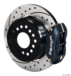 Wilwood Forged Dynalite Rear Parking Brake Kit - Black Anodize Caliper - SRP Drilled & Slotted Rotor