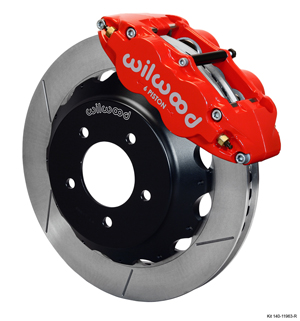 Wilwood Forged Narrow Superlite 6R Big Brake Front Brake Kit (Hat) - Red Powder Coat Caliper - GT Slotted Rotor