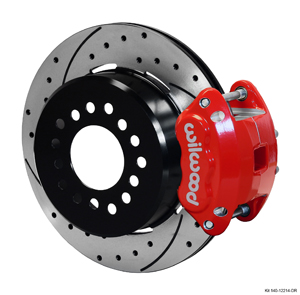 Wilwood D154 Rear Parking Brake Kit - Red Powder Coat Caliper - SRP Drilled & Slotted Rotor