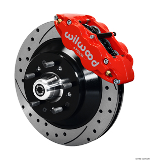 Wilwood Forged Narrow Superlite 6R Big Brake Front Brake Kit (Hub and 1PC Rotor) - Red Powder Coat Caliper - SRP Drilled & Slotted Rotor