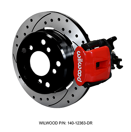 Wilwood Combination Parking Brake Caliper 1Pc Rotor Rear Brake Kit - Red Powder Coat Caliper - SRP Drilled & Slotted Rotor