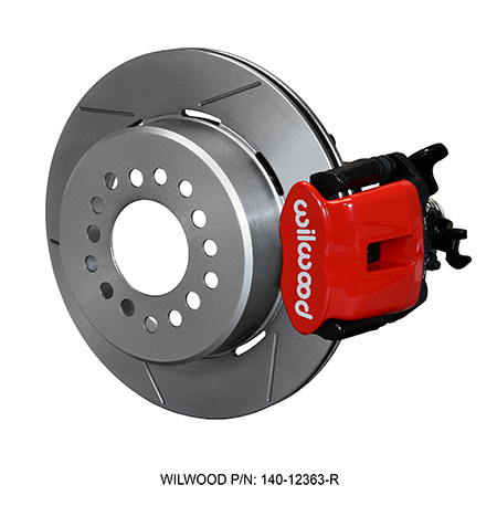 Wilwood Combination Parking Brake Caliper 1Pc Rotor Rear Brake Kit - Red Powder Coat Caliper - GT Slotted Rotor