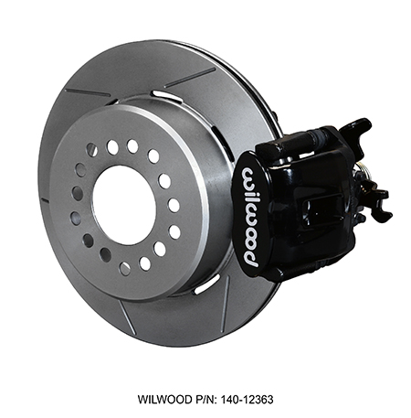 Wilwood Combination Parking Brake Caliper 1Pc Rotor Rear Brake Kit - Black Powder Coat Caliper - GT Slotted Rotor