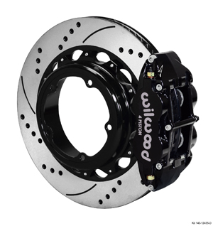 Wilwood Forged Narrow Superlite 4R Big Brake Rear Parking Brake Kit - Black Powder Coat Caliper - SRP Drilled & Slotted Rotor