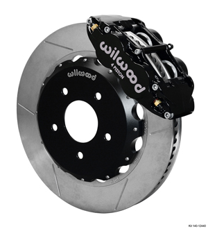 Wilwood Forged Narrow Superlite 4R Big Brake Front Brake Kit (Hat) - Black Powder Coat Caliper - GT Slotted Rotor