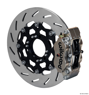 Wilwood Billet Narrow Dynalite Radial Mount Sprint Inboard Brake Kit - Nickel Plate Caliper - Slotted Rotor