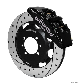 Wilwood Forged Dynapro 6 Big Brake Front Brake Kit (Hat) - Black Powder Coat Caliper - SRP Drilled & Slotted Rotor