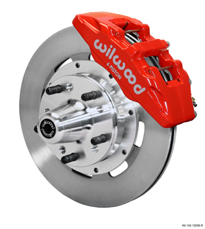 Wilwood Forged Dynapro 6 Big Brake Front Brake Kit (Hub) - Red Powder Coat Caliper - Plain Face Rotor
