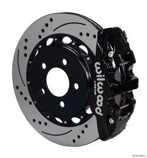 Wilwood AERO4 Big Brake Rear Brake Kit For OE Parking Brake - Black Powder Coat Caliper - SRP Drilled & Slotted Rotor