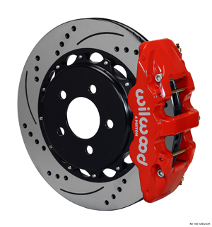 Wilwood AERO4 Big Brake Rear Brake Kit For OE Parking Brake - Red Powder Coat Caliper - SRP Drilled & Slotted Rotor