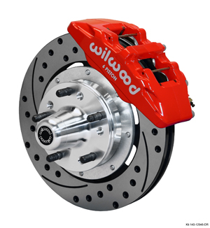 Wilwood Forged Dynapro 6 Big Brake Front Brake Kit (Hub) - Red Powder Coat Caliper - SRP Drilled & Slotted Rotor