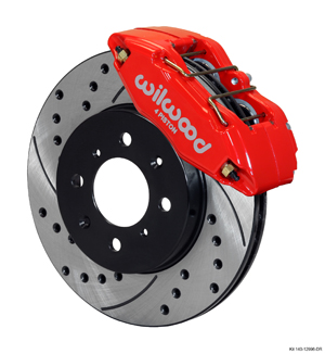 Wilwood Forged DPHA  Front Caliper and Rotor Kit - Red Powder Coat Caliper - SRP Drilled & Slotted Rotor