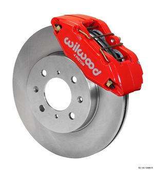 Wilwood Forged DPHA  Front Caliper and Rotor Kits  - Red Powder Coat Caliper - Plain Face Rotor
