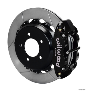 Wilwood Forged Narrow Superlite 4R Big Brake Rear Brake Kit For OE Parking Brake - Black Powder Coat Caliper - GT Slotted Rotor