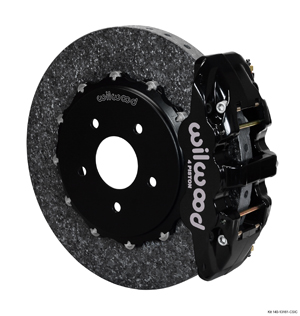 Wilwood AERO4 WCCB Carbon-Ceramic Big Brake Rear OE Parking Brake Kit - Black Powder Coat Caliper - Plain Face Rotor