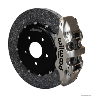 Wilwood AERO4 WCCB Carbon-Ceramic Big Brake Rear OE Parking Brake Kit - Nickel Plate Caliper - Plain Face Rotor