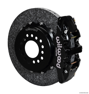 Wilwood AERO4 WCCB Carbon-Ceramic Big Brake Rear Parking Brake Kit - Black Powder Coat Caliper - Plain Face Rotor