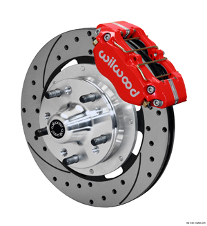 Wilwood Dynapro Dust-Boot Big Brake Front Brake Kit (Hub) - Red Powder Coat Caliper - SRP Drilled & Slotted Rotor