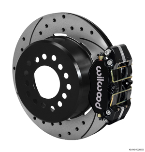 Wilwood Dynapro Dust-Boot Rear Parking Brake Kit - Black Powder Coat Caliper - SRP Drilled & Slotted Rotor