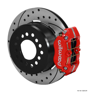 Wilwood Dynapro Dust-Boot Rear Parking Brake Kit - Red Powder Coat Caliper - SRP Drilled & Slotted Rotor
