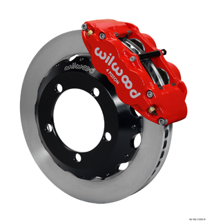 Wilwood Forged Narrow Superlite 4R Big Brake Front Brake Kit (Hat) - Red Powder Coat Caliper - Plain Face Rotor