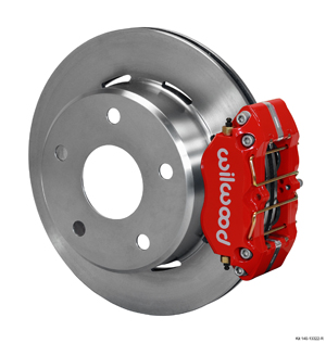 Wilwood Dynapro Lug Mount Rear Parking Brake Kit - Red Powder Coat Caliper - Plain Face Rotor