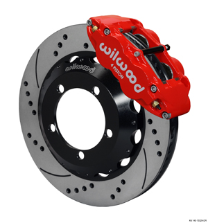 Wilwood Forged Narrow Superlite 4R Big Brake Front Brake Kit (Hat) - Red Powder Coat Caliper - SRP Drilled & Slotted Rotor