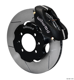 Wilwood Forged Dynalite Big Brake Front Brake Kit (Hat) - Black Anodize Caliper - GT Slotted Rotor