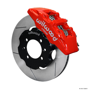 Wilwood Forged Dynapro 6 Big Brake Front Brake Kit (Hat) - Red Powder Coat Caliper - GT Slotted Rotor