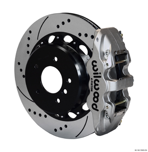Wilwood AERO4 Big Brake Rear Brake Kit For OE Parking Brake - Nickel Plate Caliper - SRP Drilled & Slotted Rotor