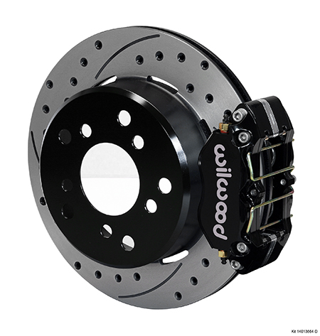 Wilwood Dynapro Lug Mount Rear Parking Brake Kit - Black Powder Coat Caliper - SRP Drilled & Slotted Rotor