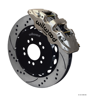 Wilwood AERO6 Big Brake Front Brake Kit - Nickel Plate Caliper - SRP Drilled & Slotted Rotor