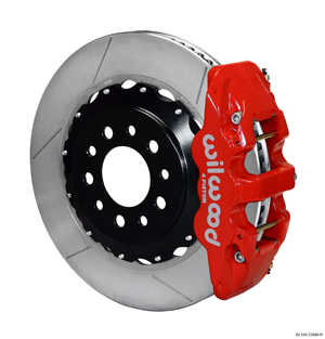 Wilwood AERO4 Big Brake Rear Brake Kit For OE Parking Brake - Red Powder Coat Caliper - GT Slotted Rotor
