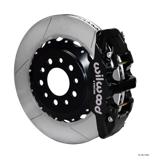 Wilwood AERO4 Big Brake Rear Brake Kit For OE Parking Brake - Black Powder Coat Caliper - GT Slotted Rotor