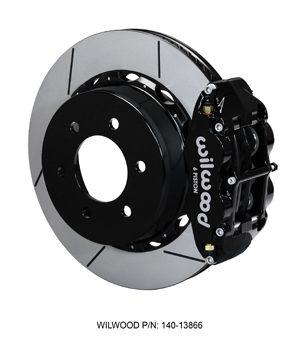 Wilwood Forged Narrow Superlite 6R Big Brake Rear Brake Kit For OE Parking Brake - Black Powder Coat Caliper - GT Slotted Rotor