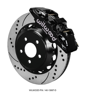 Wilwood AERO6 Big Brake Front Brake Kit - Black Powder Coat Caliper - SRP Drilled & Slotted Rotor