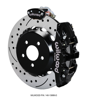 Wilwood AERO4-MC4 Big Brake Rear Parking Brake Kit - Black Powder Coat Caliper - SRP Drilled & Slotted Rotor
